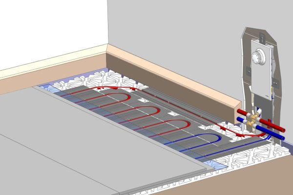 """Perspektivische Ansicht des Wandeinbaus der Einzelraum-Regelung """"Unibox EBV"""" für eine Fußbodenheizung."""