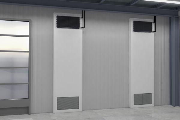 Ein Schwerkraftkühlsystem in einer Industriehalle.