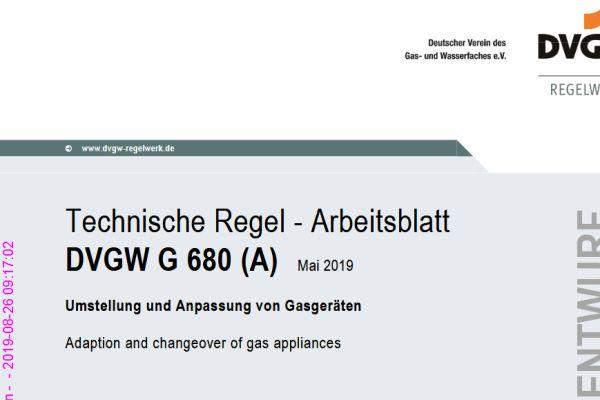Cover des Entwurfs zum DVGW-Arbeitsblatt G 680.