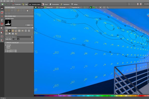 Screenshot aus der Lichtplanungssoftware DIALux evo.