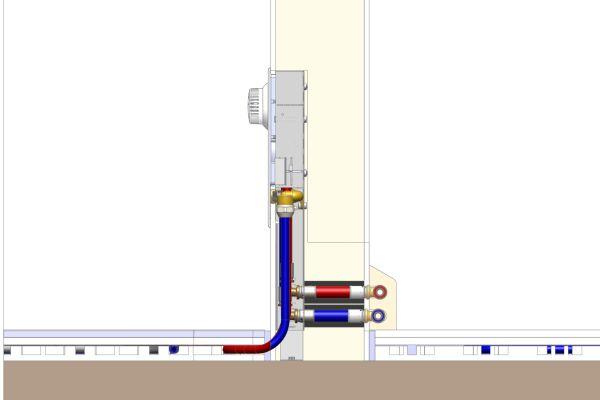 """Innenwand mit Einzelraum-Regelung """"Unibox EBV"""" für die Fußbodenheizung im Querschnitt (Abb.3)."""