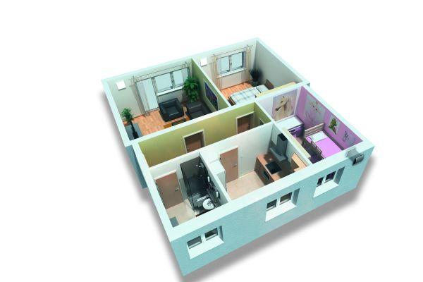 Die Grafik zeigt einen Blick von oben in eine Wohnung.