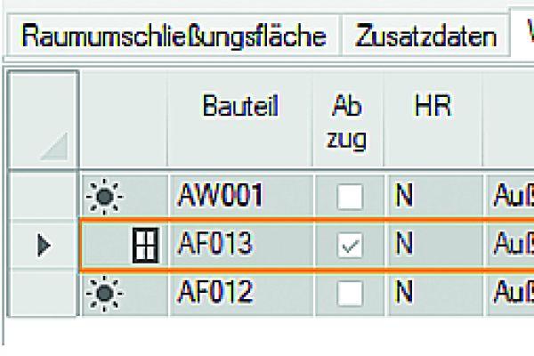 Screenshot aus einem Programm zum Berechnen der Heizlast, markiert sind bauteilbezogene pauschale Zuschläge.