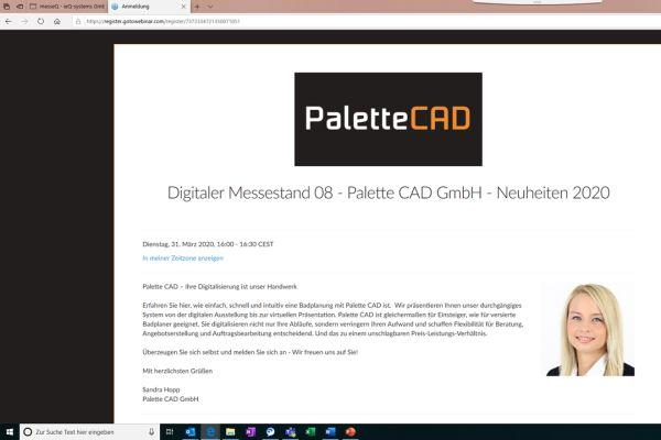 Screenshot der Anmeldung für die digitale Messe von Palette CAD.