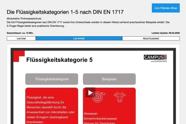 Screenshot eines Test zu Flüssigkeitskategorien.