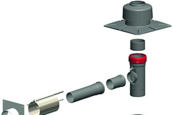 Die Grafik zeigt den Aufbau eines Abgassystems für die Mehrfachbelegung im Schacht.