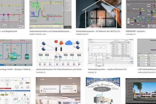 Das Bild zeigt einen Screenshot von diversen Gebäudeleitsystemen.
