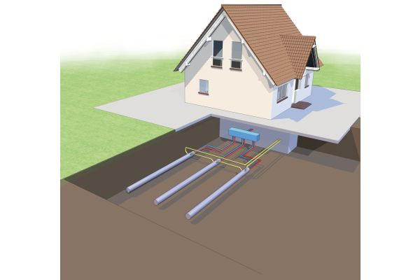 Die Grafik zeigt, wie eine Wärmepumpeninstallation mit Terrathech-Erdwärmekollektoren vor einem Haus aussieht.