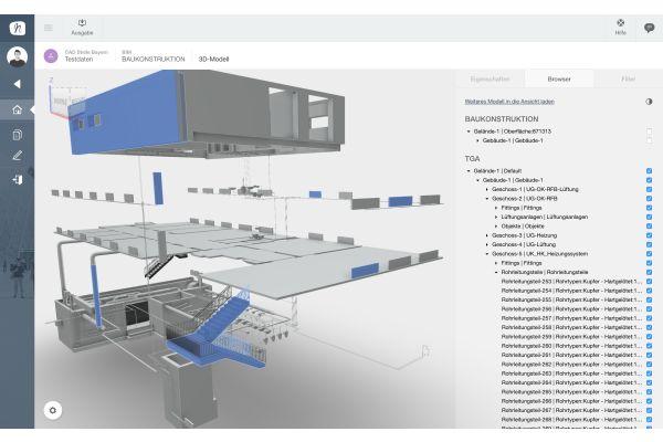 Screenshot aus dem Multi-Modell-Viewer von Nova Building IT.