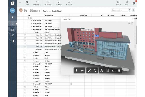 Screenshot eines 3D-Modells zur Kostenplanung.