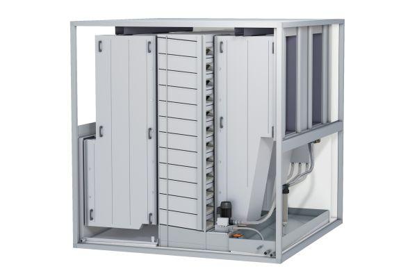 """Die RLT-Anlagen mit """"Ka2O-Technologie"""" arbeiten mit klein dimensionierten Gegenstrom-Wärmeübertragern, die zusammen mit einem  Befeuchtungssystem in einzelne, variabel erweiterbare Moduleinheiten integriert sind."""