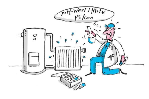 Cartoon eines Handwerkers, der eine Wasserprobe an einer Heizungsanlage nimmt.