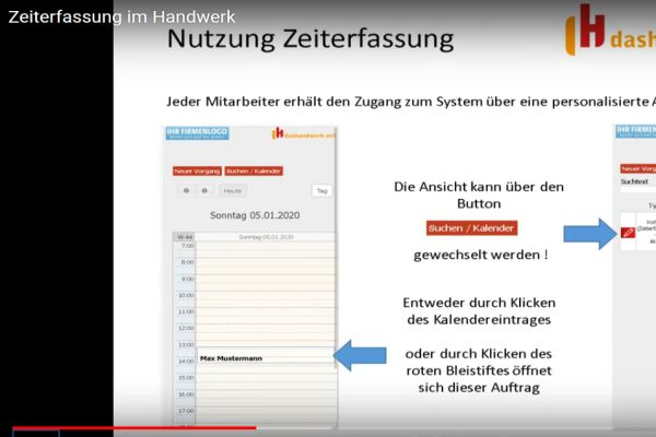 Screenshot der Zeiterfassung in der dashandwerk.net-Software.