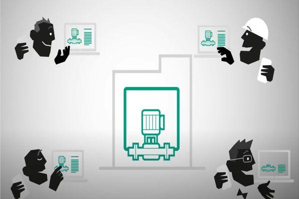 Zeichnung von miteinander verbundenen Computern und Nutzern.