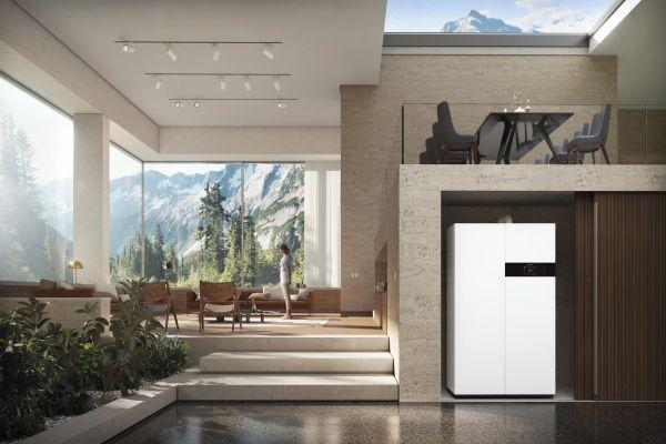 Ein Brennstoffzellenheizgeräte in einem Raum mit Blick auf Berge.