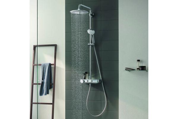 Die SmartControl-Technologie für Duschen ist eine der aktuellsten Grohe-Innovationen. Damit können nutzerbezogen beispielsweise Wohlfühltemperaturen und Volumenströme individuell gespeichert werden.