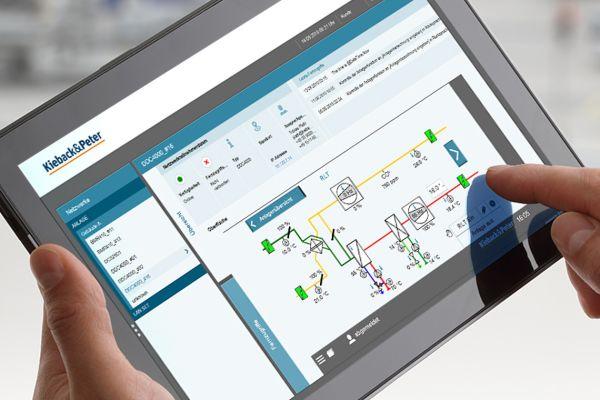 Das Bild zeigt GMS-Software auf einem Tablet.