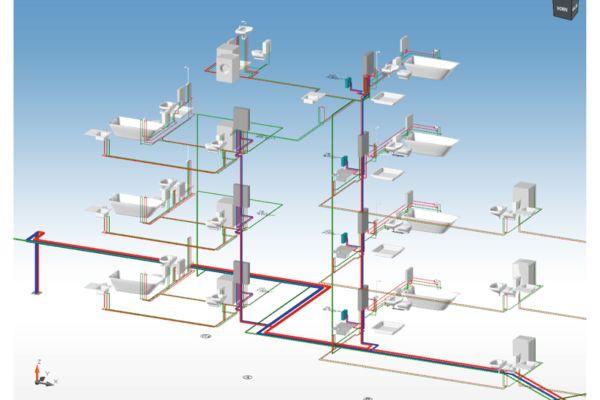 3D-Ansicht eines Trinkwasser-Rohrnetzes.