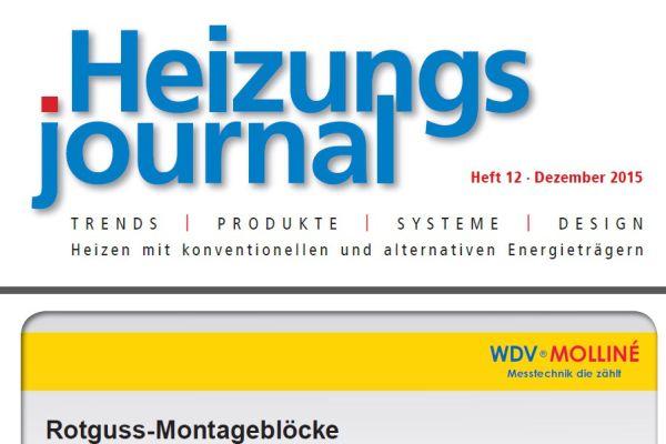 HeizungsJournal – Heft 12, Dezember 2015 HeizungsJournal – Heft 12/2015