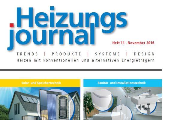 HeizungsJournal - Heft 11, November 2016 HeizungsJournal - Heft 11/2016