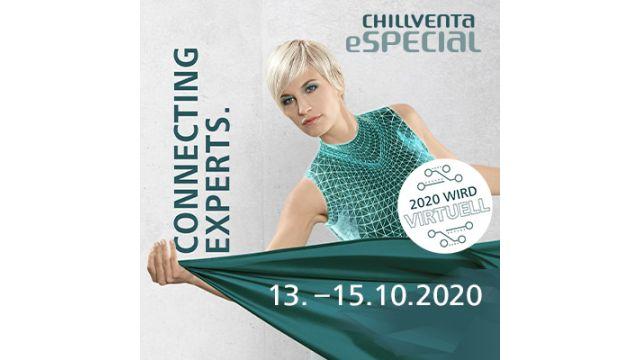 Eine blonde Frau in grünem Kleid, daneben stehen wichtige Infos zum Chillventa eSpecial.