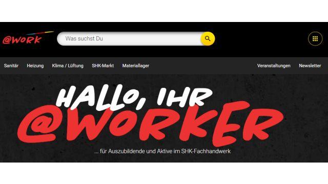 Screenshot des Headers der Webseite https://www.shk-at-work.de/.