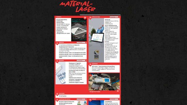 Screenshot der Unterseite Materiallager auf https://www.shk-at-work.de/.