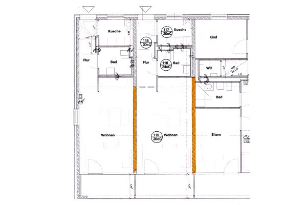 Abb1: Rechenbeispiel: Wohnungsgrundriss des Raumes 115 mit zwei Wohnungstrennwänden aus Beton zu den Nebenwohnungen.