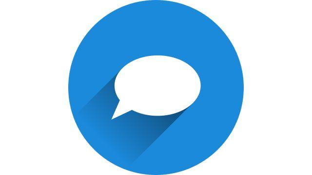 Ein blauer Kreis, darin ist eine leere weiße Sprechblase.