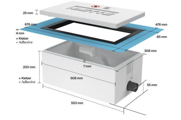 """Ab 90 mm Fußbodenaufbau können flache und superflache Duschwannen mit der Installationsbox """"Easy Connect"""" schnell, einfach und normgerecht sicher installiert werden."""