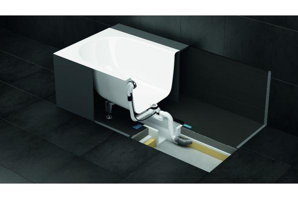 Auch Einbaubadewannen sowie freistehende Badewannen lassen sich mithilfe der praktischen Installationsbox normgerecht und schnell installieren. Eine zusätzliche Abdichtung am Wannenrand ist nicht nötig.