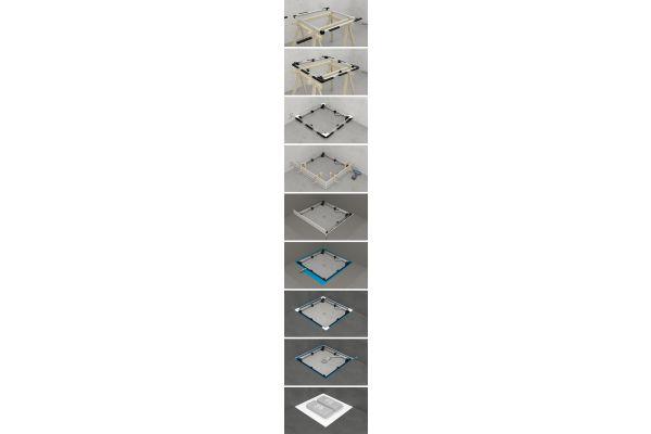 1. Rahmen zusammenstecken 2. Füße und Wandabstandshalter montieren 3. Rahmen platzieren und vorbereiten 4. Schalungspaneele anbringen 5. Boden einbringen 6. Abdichten 7. Verfliesen 8. Feininstallation (Ablaufgarnitur, Ecken abdichten) 9. Duschwanne einsetzen