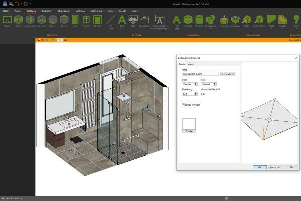 Der Konfigurator für die bodengleiche Dusche errechnet automatisch alle Winkel und erzeugt sowohl die ganzen Verlegeflächen als auch das Abflussobjekt (Schiene, Rundabfluss, usw.).