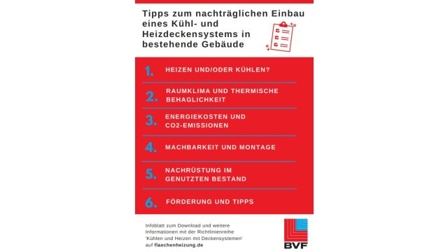 Cover des Infoblatts mit Tipps zum nachträglichen Einbau eines Kühl- und Heizdeckensystems.