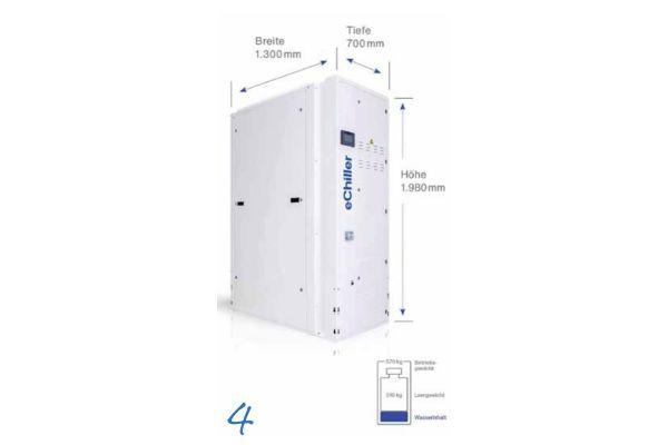 Das Entfallen der Sicherheitsanforderungen für Kälteanlagen gemäß DIN EN 378, ein leiser und vibrationsarmer Betrieb sowie kompakte Abmessungen ermöglichen eine Aufstellung des Kaltwassersatzes auch außerhalb des Maschinenraumes.