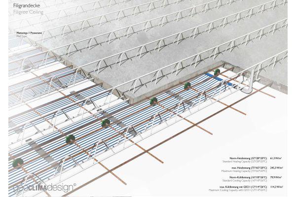 """Die Heiz- und Kühllösung """"Filiblue"""": die Kapillarrohrmatten werden bereits im Betonwerk in die Filigranelemente integriert."""