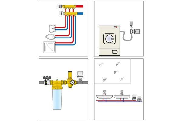 """Neben der Standardversion gibt es spezielle Versionen der Wasserschlagdämpfer für Spülen und Waschbecken (3/8"""" IG Überwurfmutter x 3/8"""" AG) und Waschmaschinen (3/4"""" IG Überwurfmutter x 3/4"""" AG)."""
