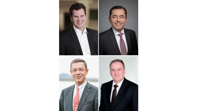 Das Bild zeigt den neuen Vorstand der Vereinigung Deutsche Sanitärwirtschaft (VDS): Thilo C. Pahl (Vorsitzender), Michael Hilpert (stv. Vorsitzender), Dr. Rolf-Eugen König und Dr. Klaus-Dieter Gloe.