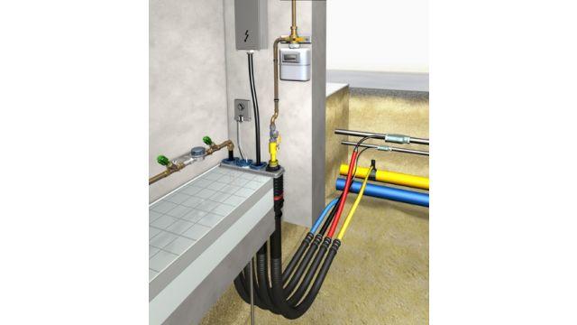 Das Bild zeigt Mehrsparten Hauseinführungen für Gas, Wasser, Strom und Telekommunikation.