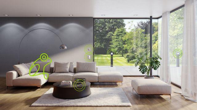 Blick in eine Wohnzimmer mit frogblue-Geräten.