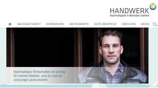 Das Bild zeigt einen Screenshot der Website nachhaltiges-handwerk.de.