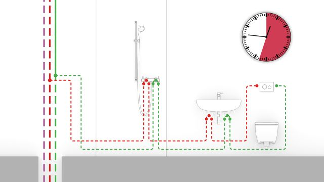Schema der hydraulischen Spülung von Tece.