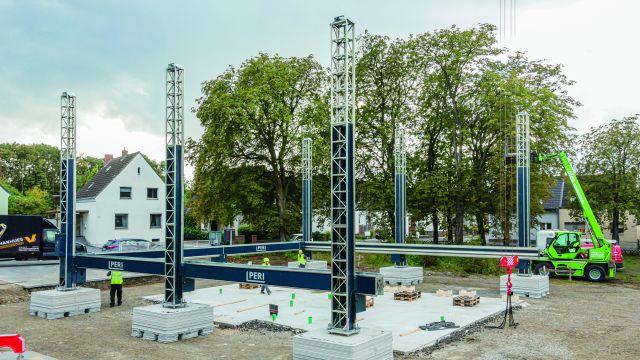 Bild von der Baustelle des ersten 3D-gedruckten Wohnhaus Deutschlands.