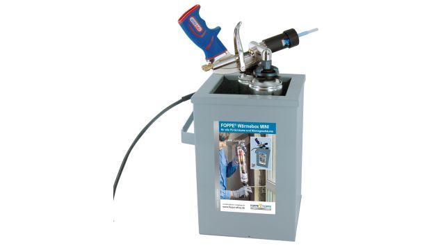 Das Bild zeigt die Wärmebox mit einem chemischem Baustoff als Inhalt.