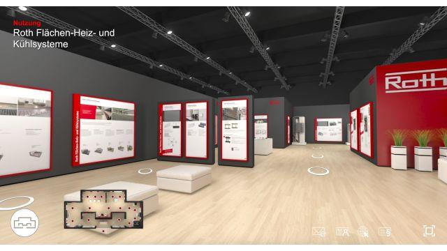 Das Bild zeigt einen Screenshot des virtuellen Messestandes.