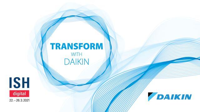 """Das Bild zeigt einen Screentshot der """"Transform with Daikin""""-Startseite."""