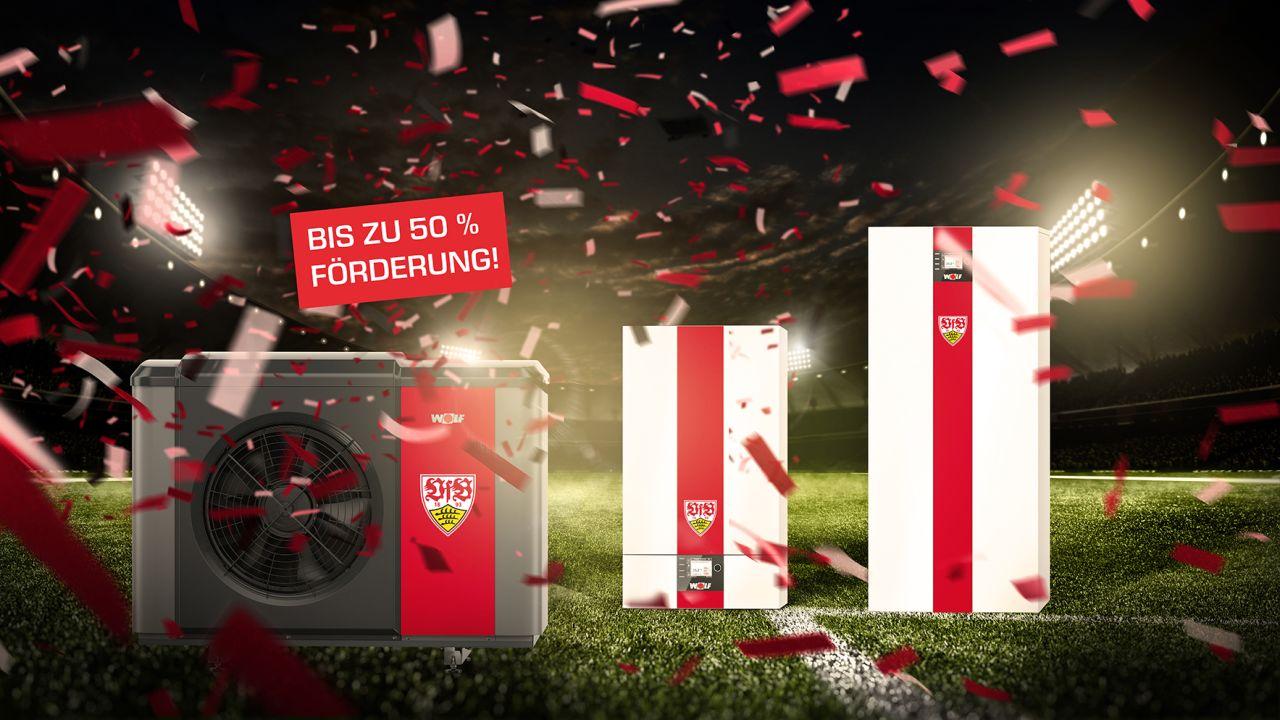 VfB Stuttgart-Fanheizung in Vereinsfarben