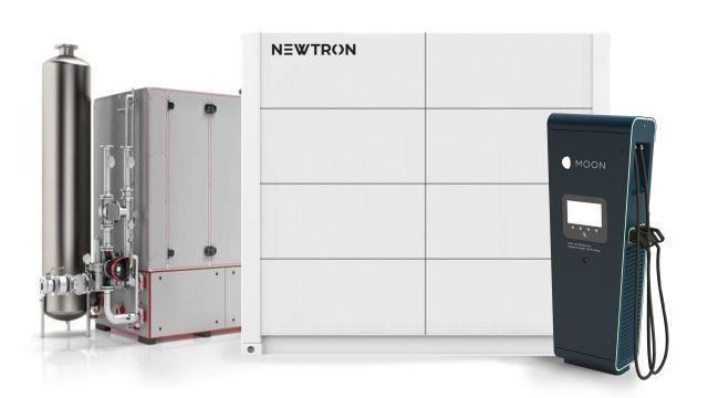 Abbildung Newtron-Konfigurationsbeispiel: BHKW mit einem Outdoor-Hochleistungsstromspeicher sowie einer Schnellladesäule für E-Mobilität.