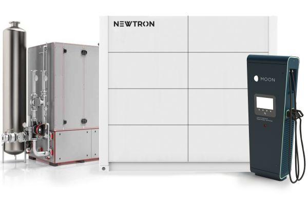 Newtron-Konfigurationsbeispiel: BHKW in Verbindung mit einem Outdoor-Hochleistungsstromspeicher sowie einer Schnellladesäule für die E-Mobilität.