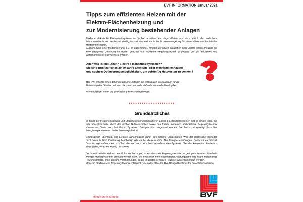 1 Infoblatt, 3 Seiten: Alles Wissenswerte zur Modernisierung bestehender Elektro-Flächenheizungen.